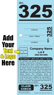 3 part valet parking tickets