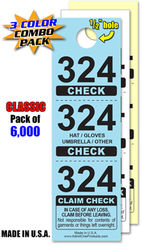3 Part Classic Coat Check - Pack of 6,000 Special