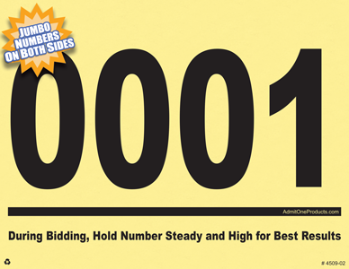 Jumbo Numbered Auction Bid Cards - 4 Digits