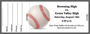 Baseball full color raffle ticket with text custom pricing maxwellsz