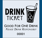 "1.83"" x 2"" Drink Glass Roll Ticket"