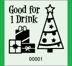 "1.83"" x 2"" Christmas 1 Drink Roll Ticket"