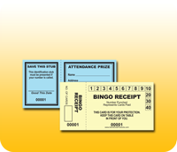 Stock Attendance and Bingo Receipt Tickets