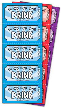 Color Drink Ticket Sheets Of 5