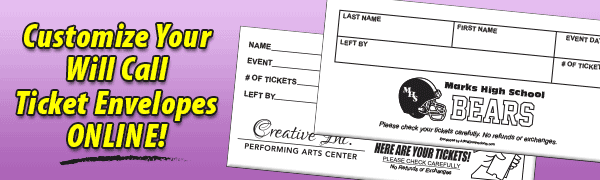 Custom Ticket Envelopes