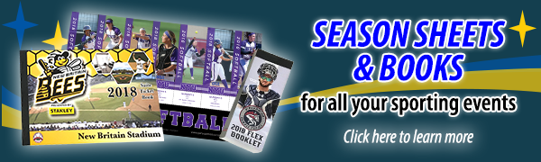 Season Sheets & Books for all your sporting events. Click here to learn more!