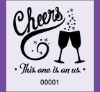 "1.83"" x 2"" Cheers Drink Roll Ticket"