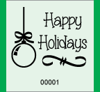 "1.83"" x 2"" Happy Holidays Ornament Roll Ticket"