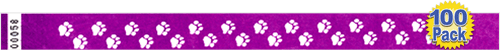 "3/4"" Premium Paw Prints Tyvek Wristbands 100 Pack"