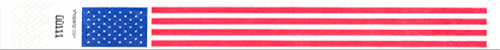 "1"" American Flag Tyvek Wristbands - Boxes of 500"