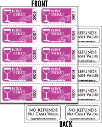 Wine ticket sheets of 10 with back print from admit one for Coat check tickets template